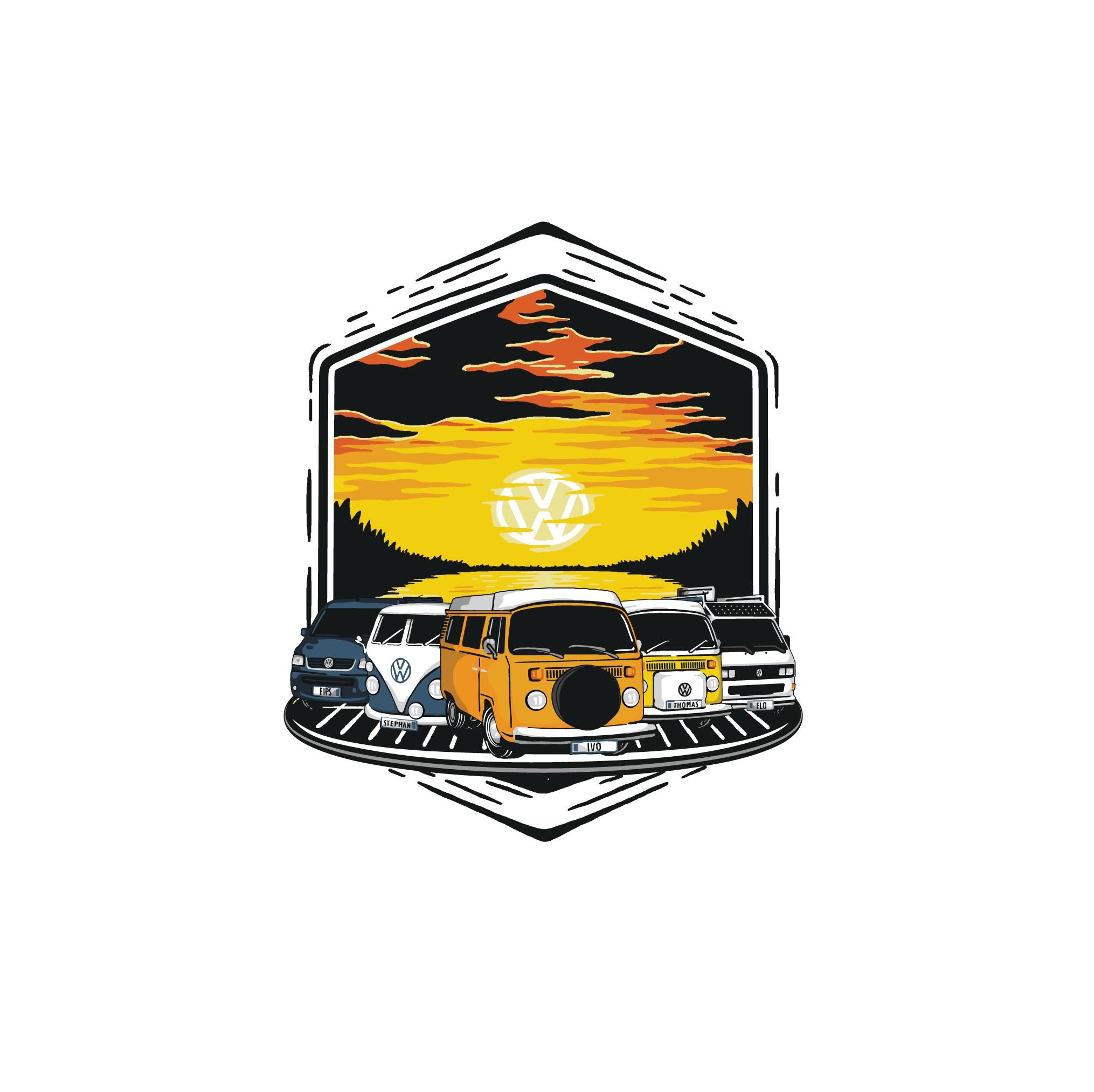 Erweiterbares Logo für einen VW Bus Verein