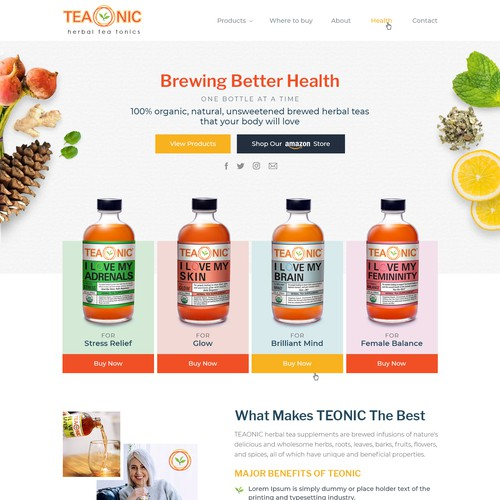 Landing page design of a Herbal tea company.