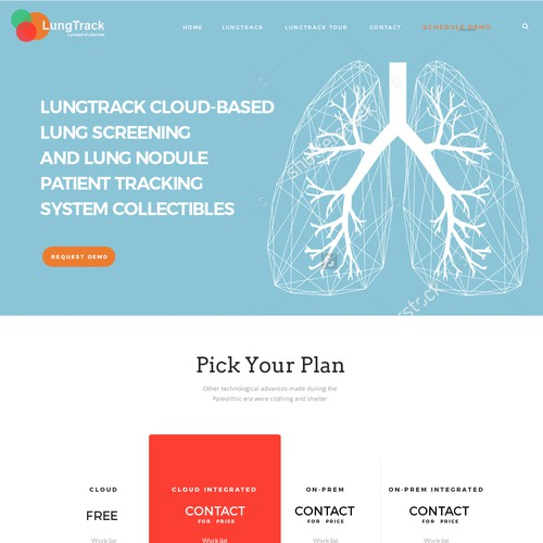Simple landing page for lung track system