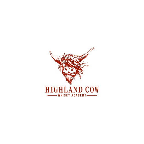 Artistic bold illustration of highland cow