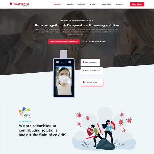 Body Temperature Detection Landing page