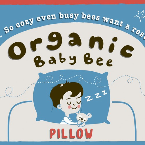 Design label & logo for organic children's pillow that says luxury, soft, sleepy. One that will pop online.