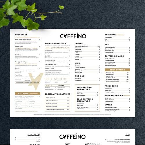 Caffeino Menu in two languages