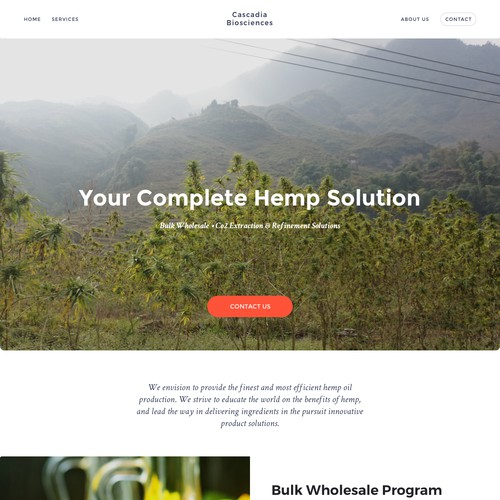 A website for hemp processing company