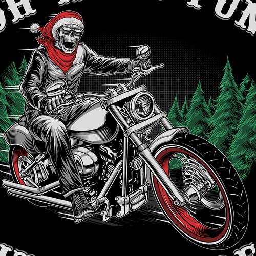Santa skull riding