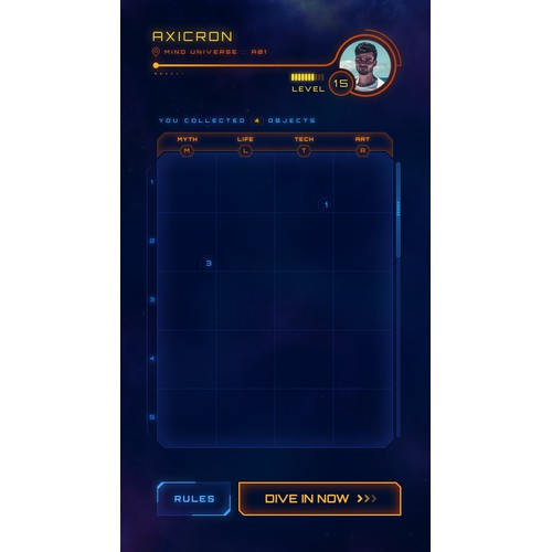 Sci-fi mobile game UI design