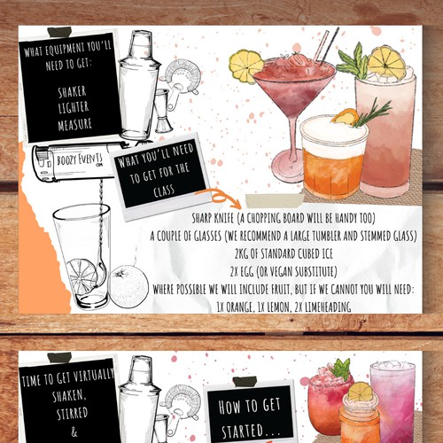 Virtual Cocktail Class Direction Card