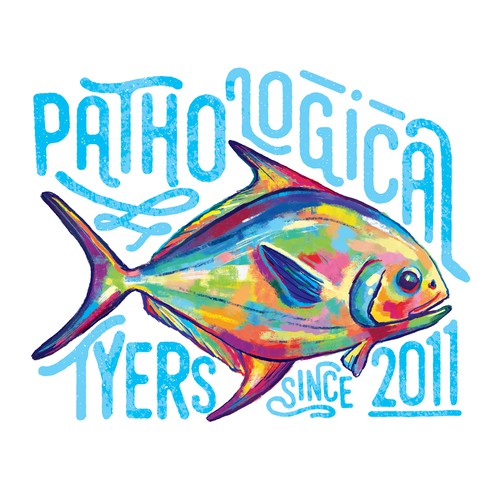 Vibrant fish illustration for a t-shirt brand