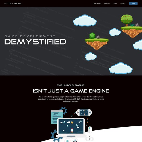 Game Development Landing page