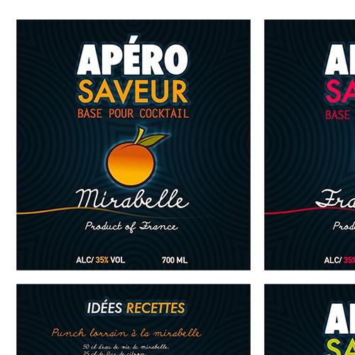 créer une gamme d' étiquette jeune dynamique et flashy pour une boisson apéritif