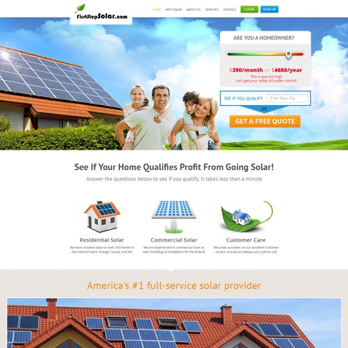 Residential Solar Lead Generation Form - Simple but elegant design