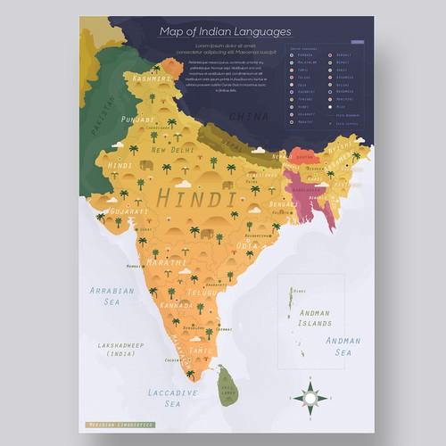 Indian languages map design