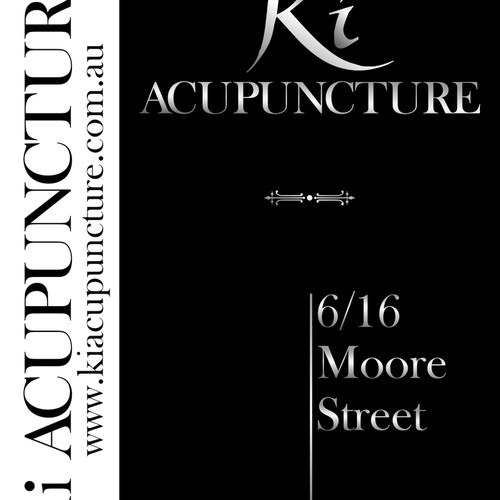 Primary shop-front sign (A1 poster) for boutique acupuncture clinic