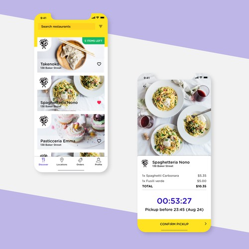 Design for food purchase app
