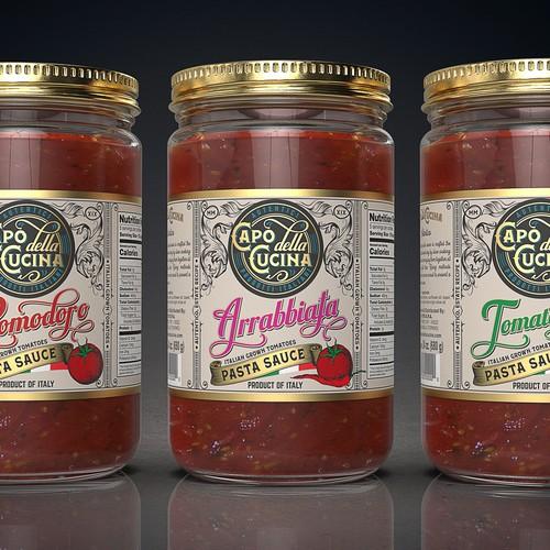 """New Pasta Sauce brand and line named """"Capo della Cucina""""."""