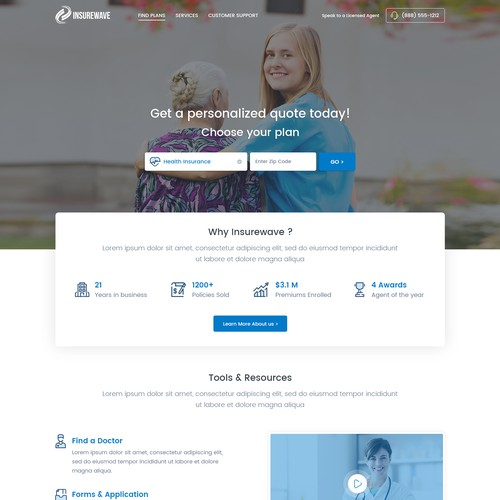 Clean landing page for Health Insurance Agency