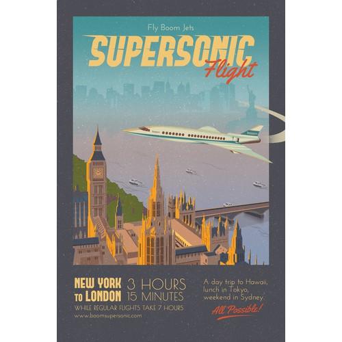 Vintage Poster Promoting Supersonic Flight