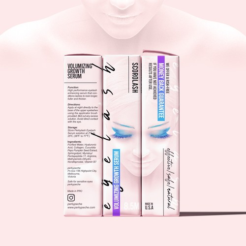 Design lash growth serum packaging