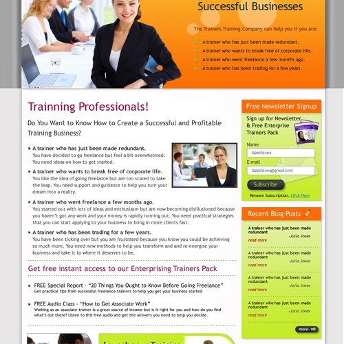 Website design mockup (no coding) - Trainers Training Company