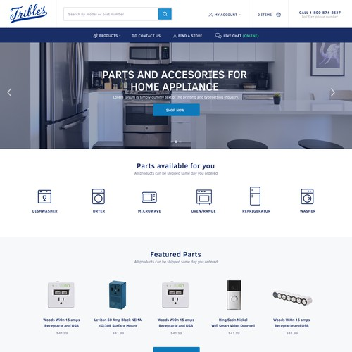 Trible's appliances parts homepage redesign