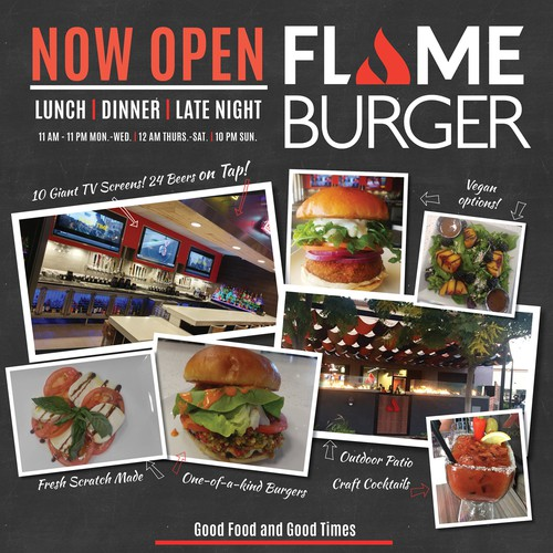 Eye catching display ad for new burger joint