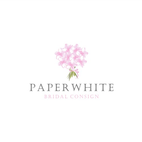 Create a elegant and sophisticated logo for Paperwhite Bridal Consignment
