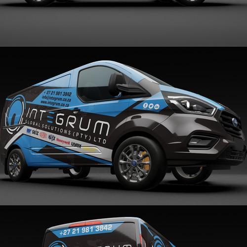 Car wrap design for Ford Transit Custom White Sports Van