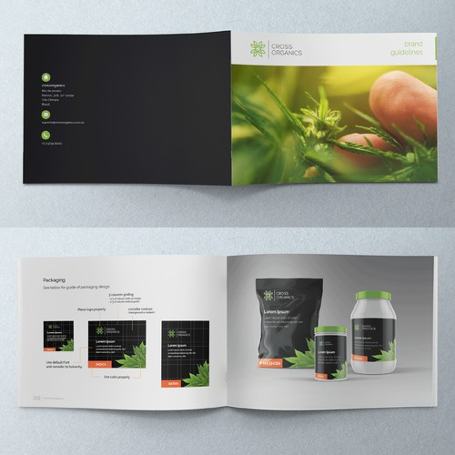 Brand guidelines + Application with real text for Cross Organics.