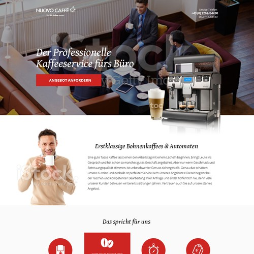 Landinpage for Coffee Machine Retailer