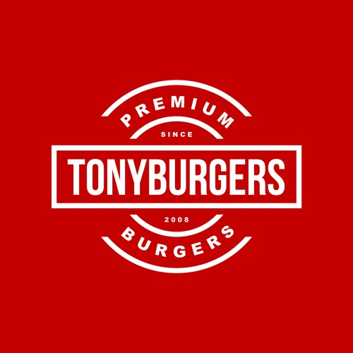 Clean badge typography logo for tonyburgers