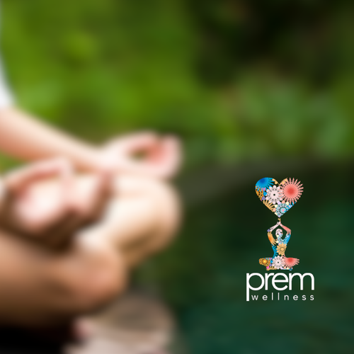 Create a logo for Prem Wellness (essential oils, energy healing & Kundalini yoga/meditation)