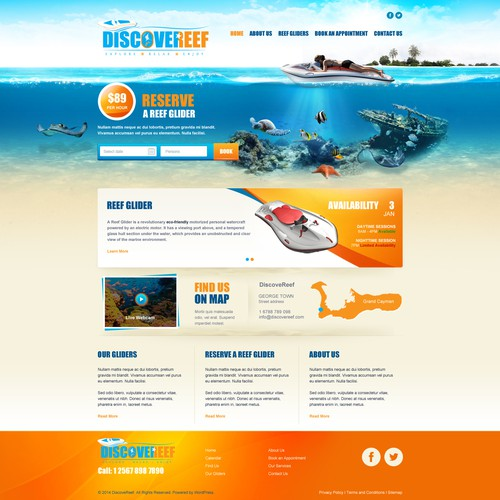 Design a vibrant website for a Caribbean Ocean Water sports business
