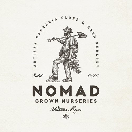 Vintage logo design for a small hand crafted and hand grown legal medical cannabis and seed nursery in California.