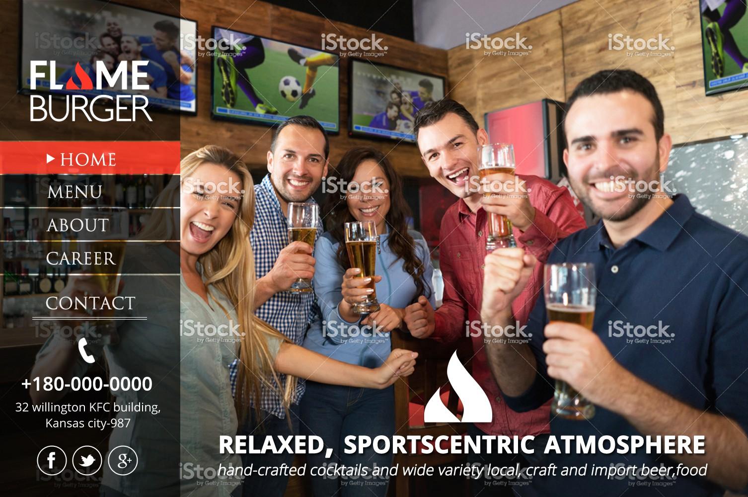 Website design for burger/sports bar