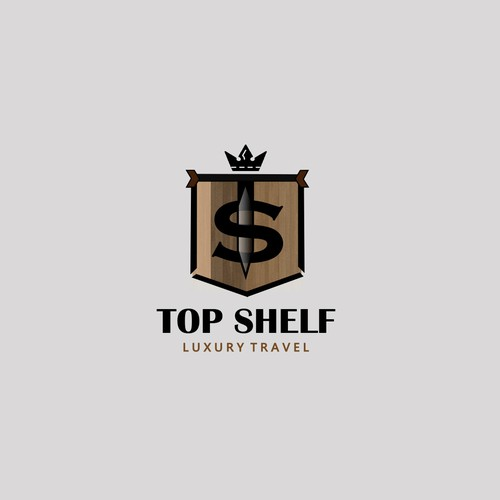 Luxurious logo for TOP SHELF luxury travel