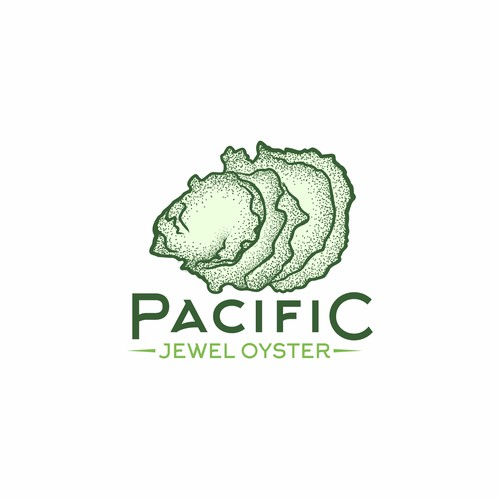 Fun and beautiful oyster farm logo for Pacific Jewel Oyster