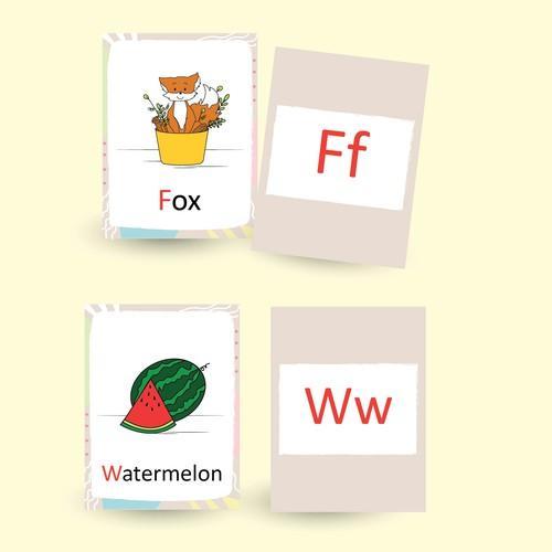 Design a set of toddler flashcards
