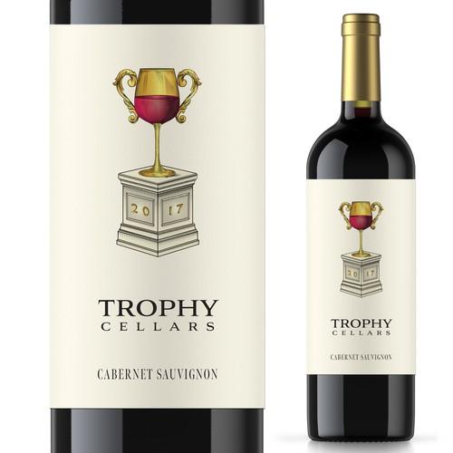 Trophy Cellars wine label design