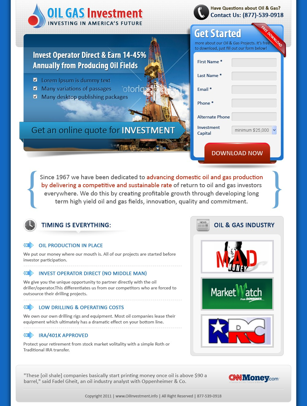 New website design wanted for Oil Gas Investment