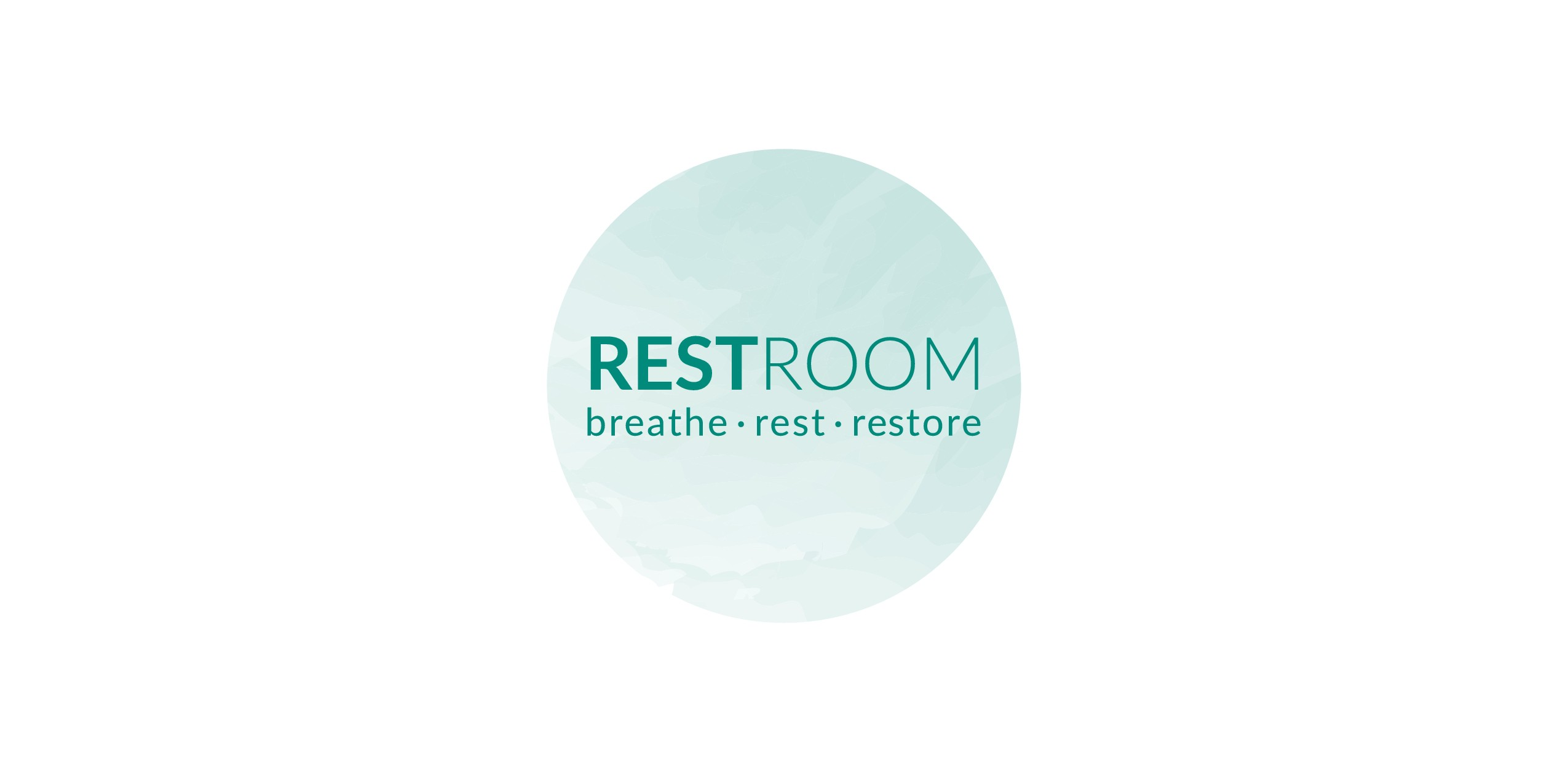 Create a sophisticated symbol to represent or work with the words Rest Room - calm, soothing space for relaxation