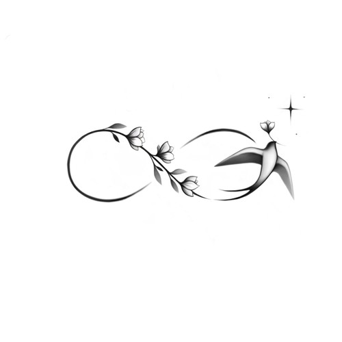 Infinity symbol with swallow and flowers