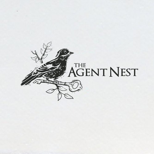 linocut digital design style for The Agent Nest