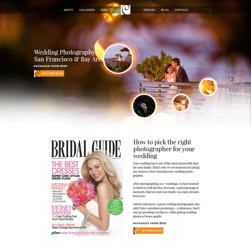 Elegant website for wedding photographers