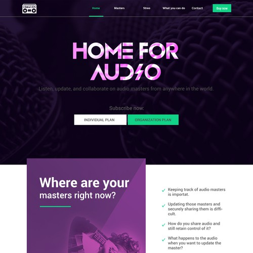 Website template design for Stereo, Home for Audio