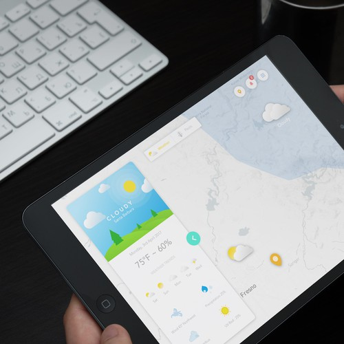 iPad Weather app with Map