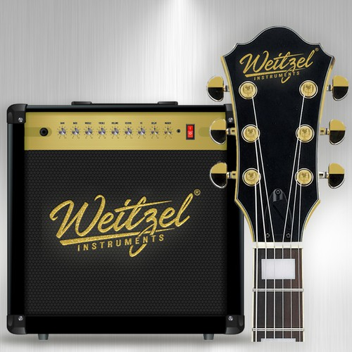 Guitar amplifier & headstock logo mock up