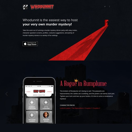 Landing Page Design Concept for Whodunnit App