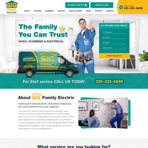 Web design of a HVAC, electrical service company.