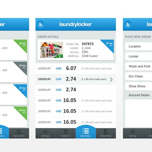 iPhone App app design for laundry company