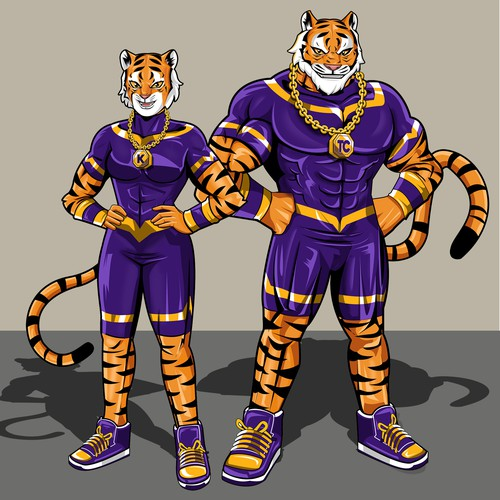 Marvel comics style superhero tiger mascot.
